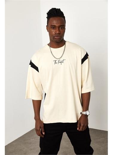 XHAN Ekru Şerit Detaylı Oversize T-shirt  Ekru